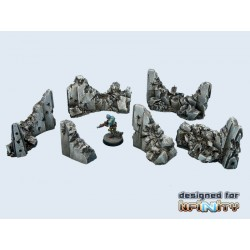 """Concrete Wall """"Destroyed"""" Set (6)"""