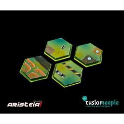 ARISTEIA! Socles hexagonaux Mercenaire (4) avec base acrylique transparent