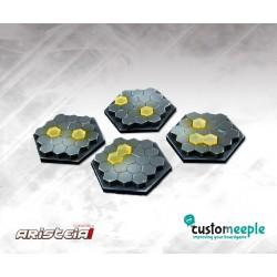 ARISTEIA! Socles hexagonaux Hexagones (4) avec base acrylique transparent