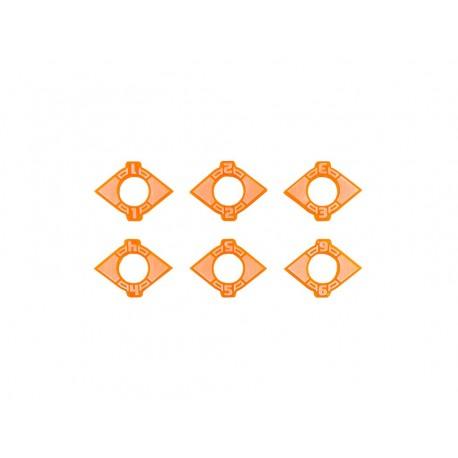 Space fighter Dual Arc Indicators Medium/Large 1-6 Orange (6)